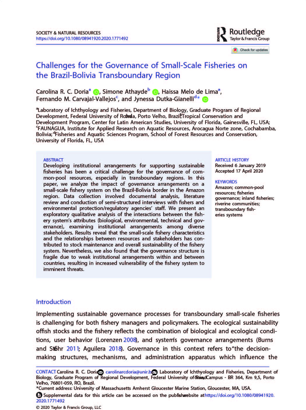 Doria_2020_Challenges for the Governance of Small Scale Fisheries on the Brazil Bolivia Transboundary Region_SocietyNaturalResources_tapa2