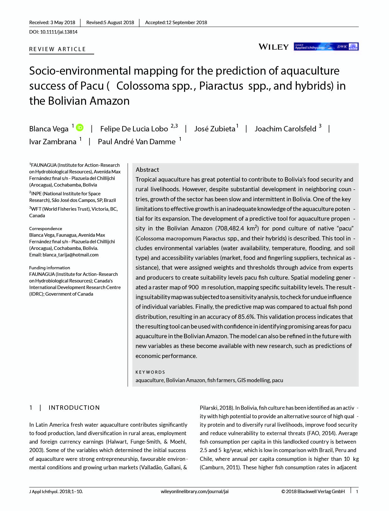 Vega_2018_Mapping aquaculture pacu Bolivian Amazon_JournalAppliedIchthyology_tapa